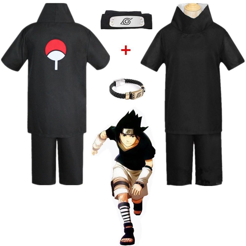 Asya Boyut Japonya Anime Naruto Hokage Siyah Uchiha Sasuke Cosplay Kostüm Unisex Parti Üniforma Kafa Tam Set