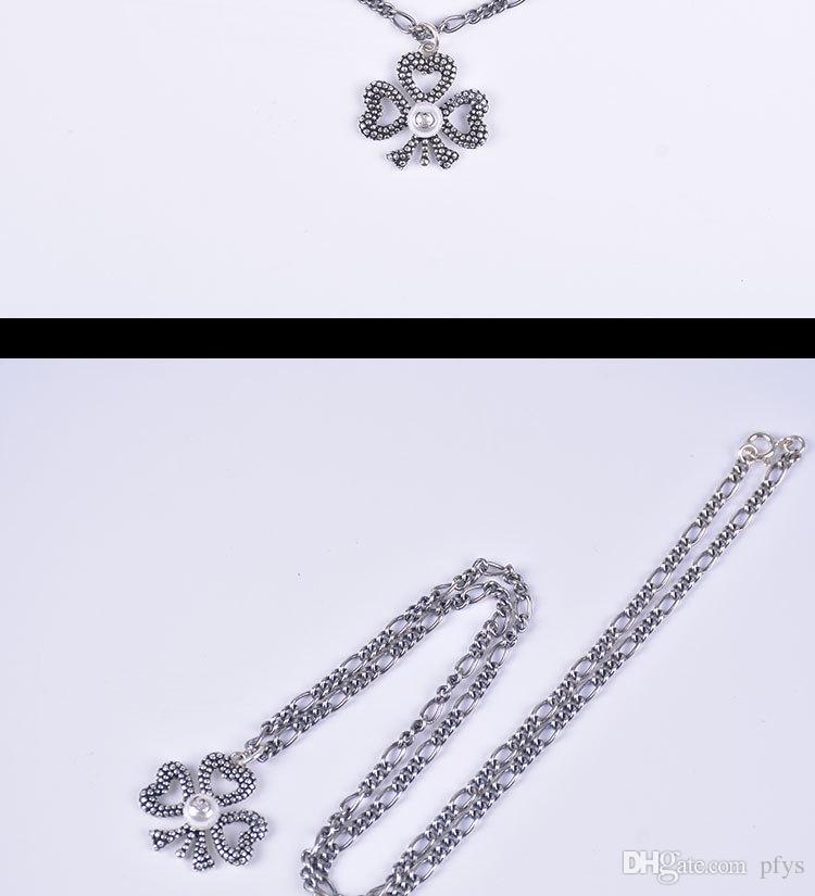 S925 스털링 실버 고대 가족 복고풍 진주 꽃 장식 성격 목걸이 남성과 여성 패션 쥬얼리