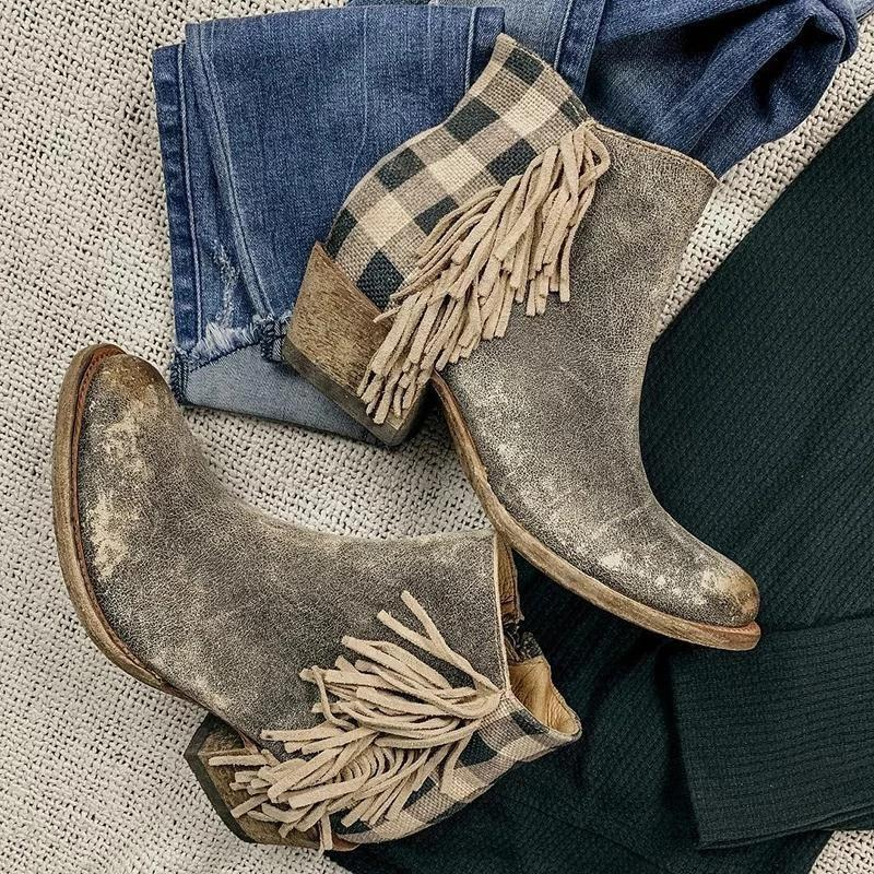 Hot Sale-Puimentiua Retro Frauen Ankle Boot Quaste Seiten Karo Rückseite Reißverschluss Chunky Heel Damen Schuhe runde Zehe niedrige Ferse Female Boot