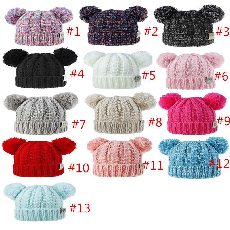 Дети зимы Beanie Hat моды коренастый Cable Knit Pompom Cap Высокое качество Двойной круг Loop шеи грелка Популярные на открытом воздухе Теплый мальчиков Одежда для девочек Hat