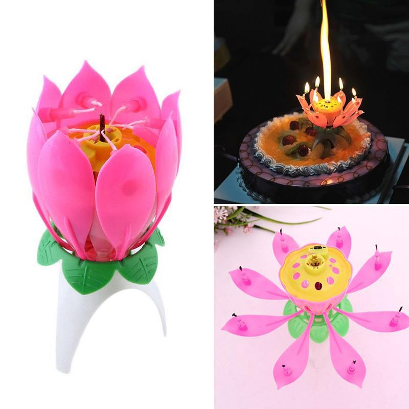 Лотос цветок свечи однослойная музыка свечи лотоса свечи день рождения свеча вечеринка торт музыка сверкал торт свечи