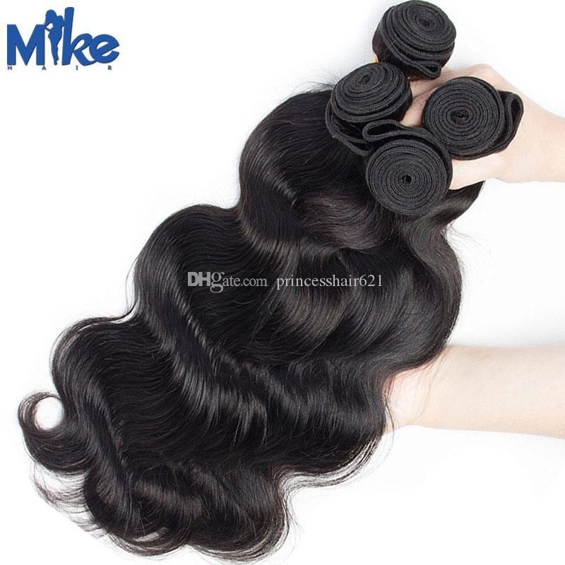 Mikehair Goedkoop Menselijk Haar 4 Bundels Braziliaanse Body Wave Haar Weave 8-30 inches Mix Lengte Peruviaanse Maleisische Indiase Human Hair Extensions
