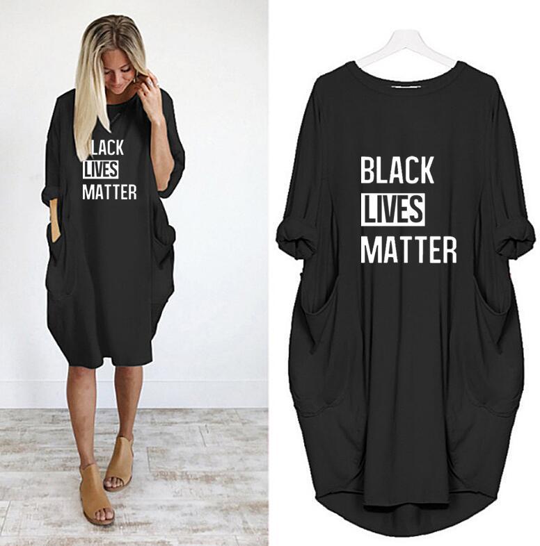 High Quality Womens T Shirts Dresses Black Lives Matter Printted 2020 Summer Dress for Women Short Sleeve Long Tee Dress S-5XL Available