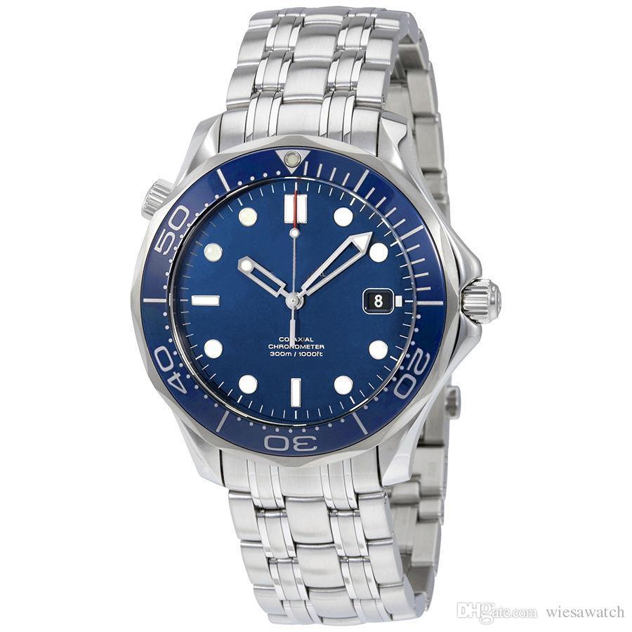 Relógio ao ar livre Planet relógios de pulso de aço inoxidável Strap Foldover Clasp 43 milímetros de discagem automática azul com Dot Hour Marker