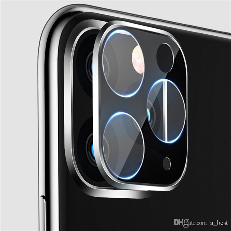 Obiettivo del telefono screen protector per iPhone 11 pro max 3D Full Back Camera vetro temperato pellicola di alluminio Lens Case metallo