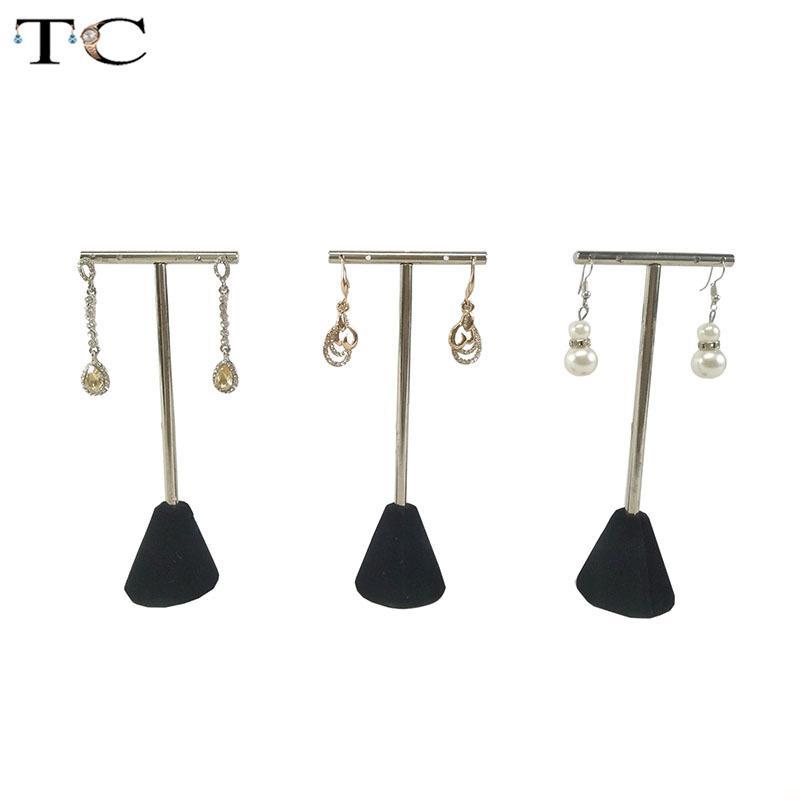 Aço inoxidável T - Shaped jóias brincos brincos de exibição stand titular 5.8x3.5x13.8cm cremalheira