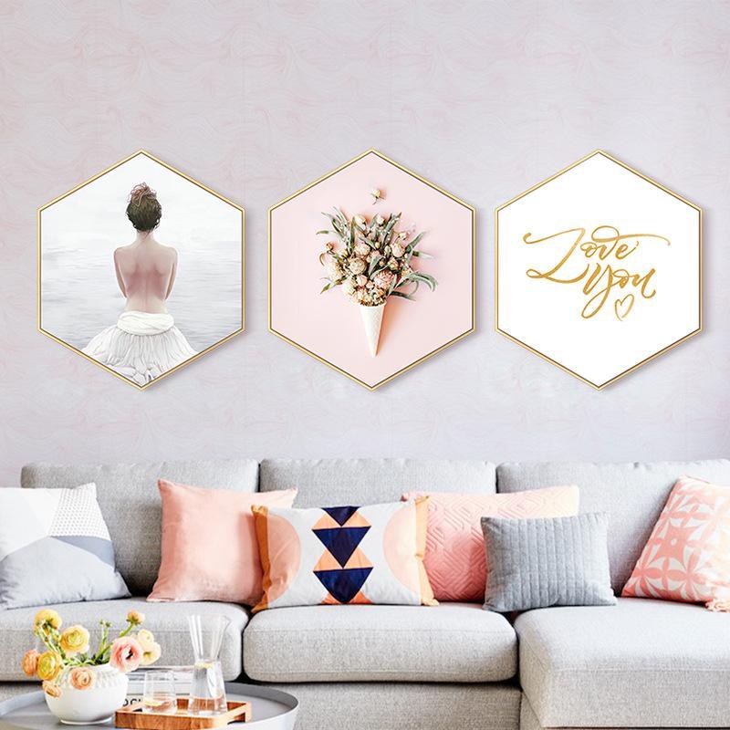 4x Modern Hanging Hexagon Glass Metal Picture Photo Frame Home Wedding Decor