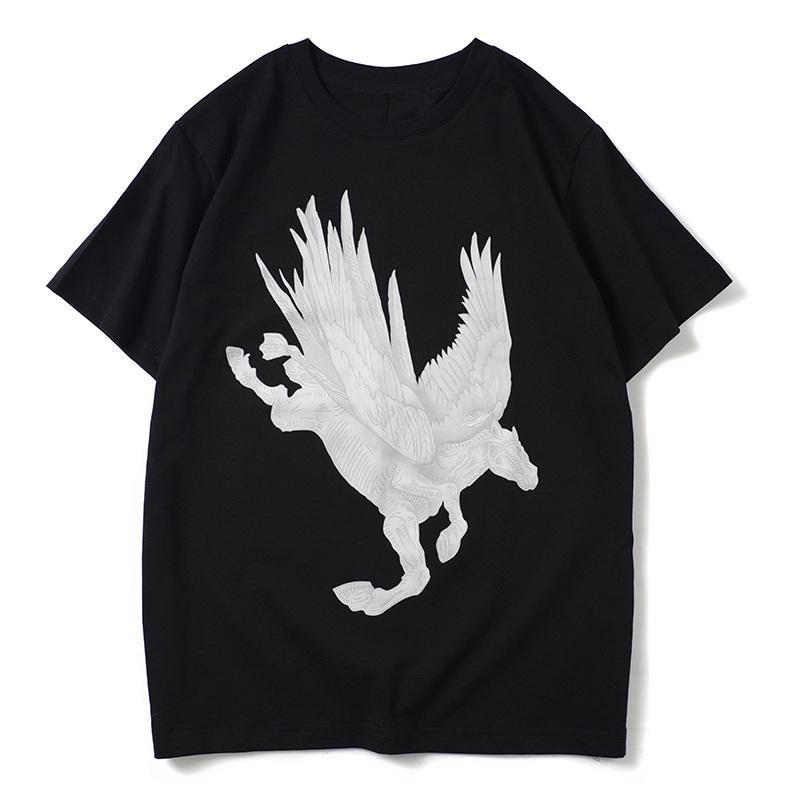 رجل المصمم تي شيرت عارضة الازياء جولة الرقبة طباعة الحيوان T قميص رجل إمرأة ذات جودة عالية قميص قصير الأكمام الأسود