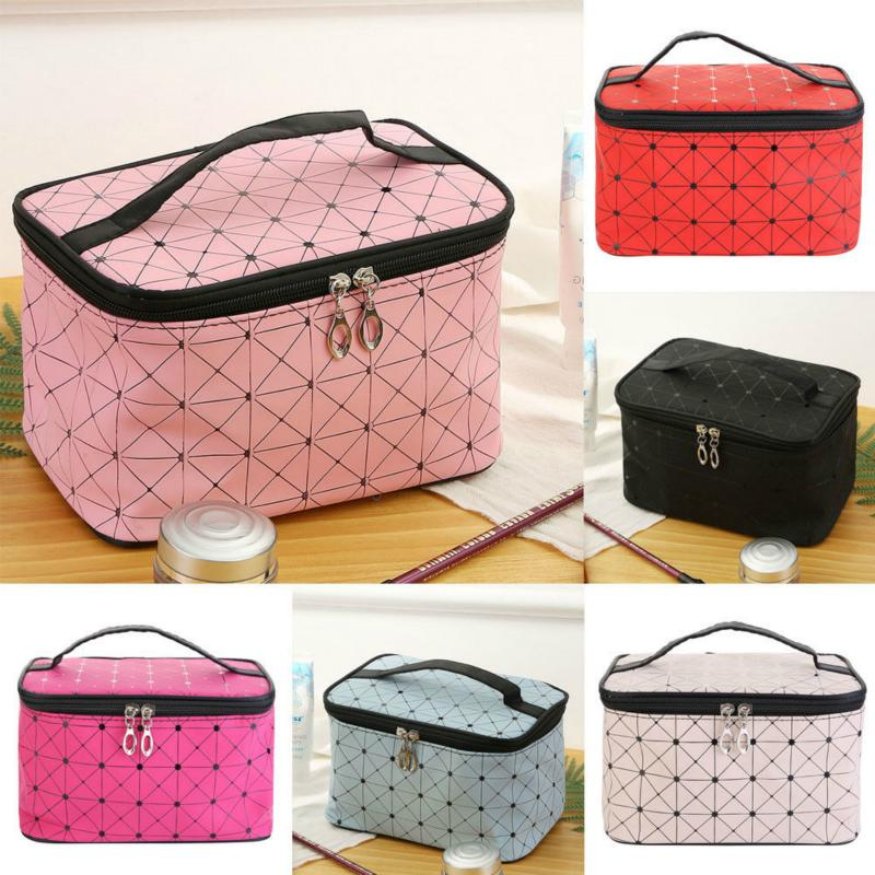 Large Capacity Cosmetic Bag Portability Magic Plaid Zipper Up Makeup Bag Travel Pouch Storage Pouch Toiletry Organizer
