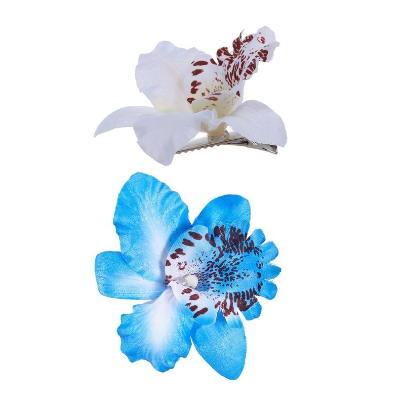 جديد الزفاف زهرة الأوركيد الشعر كليب باريت المرأة بنات اكسسوارات 2PCS الأبيض الأزرق