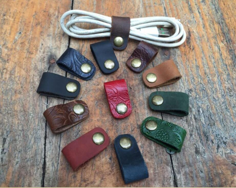 Leather Cable Winder Organizer Desk Set USB Wire Data Line Holder Earphone Line Winder Wrap Cord Desk Accessories Gifts