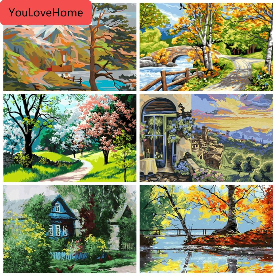 Pintura Pintura Número Canvas kits de bricolaje árbol unFrame la decoración del hogar Pintura de Numbers paisaje pintado a mano de alta calidad del regalo de lona