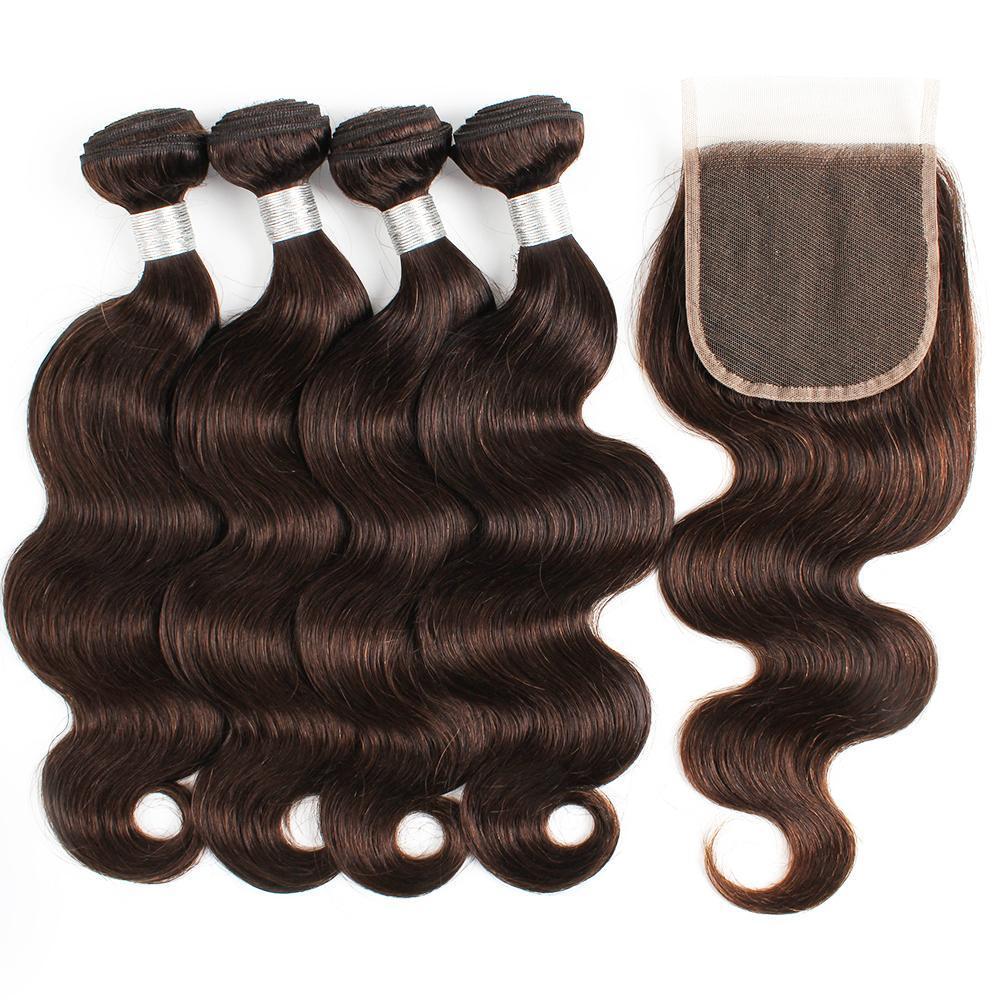 KISSHAIR mais escura onda corpo marrom 4 feixes com fecho de cor # 2 humanos 5pcs extensão do cabelo / conjunto