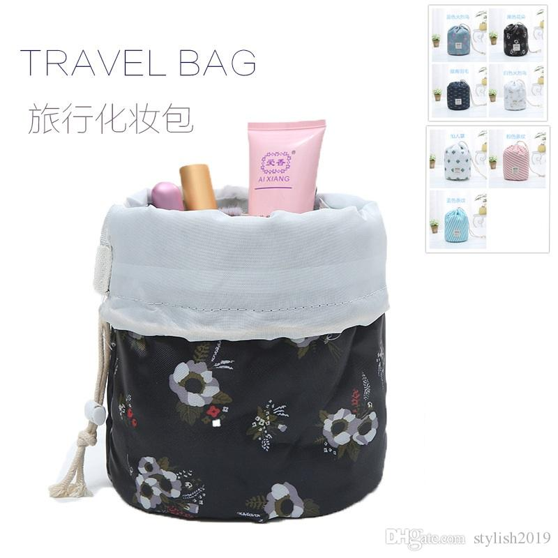11 colors New Korean elegant large capacity Barrel Shaped Nylon Wash Organizer Storage Travel Dresser Pouch Cosmetic Makeup Bag For Women638