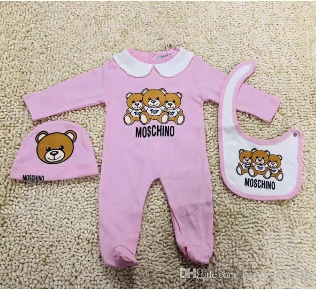 Nettes Baby-Kleidung Mode-neugeborene Kind-Baby-Brief Spielanzug-Babylätzchen Jumpsuits Cap Outfits Set