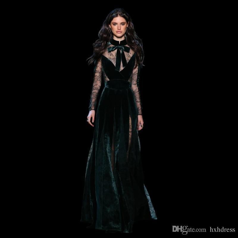 2020 New Elie Saab robes de soirée Vintage Wear Taille Plus Vert foncé Vestidos Festa avec manches à col automne dentelle robe de bal longue