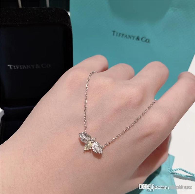 T 2019 nouveau collier design diamant jaune Bee S925 18k pendentifs de luxe en or chaîne pendentifcollier femme boîte originale