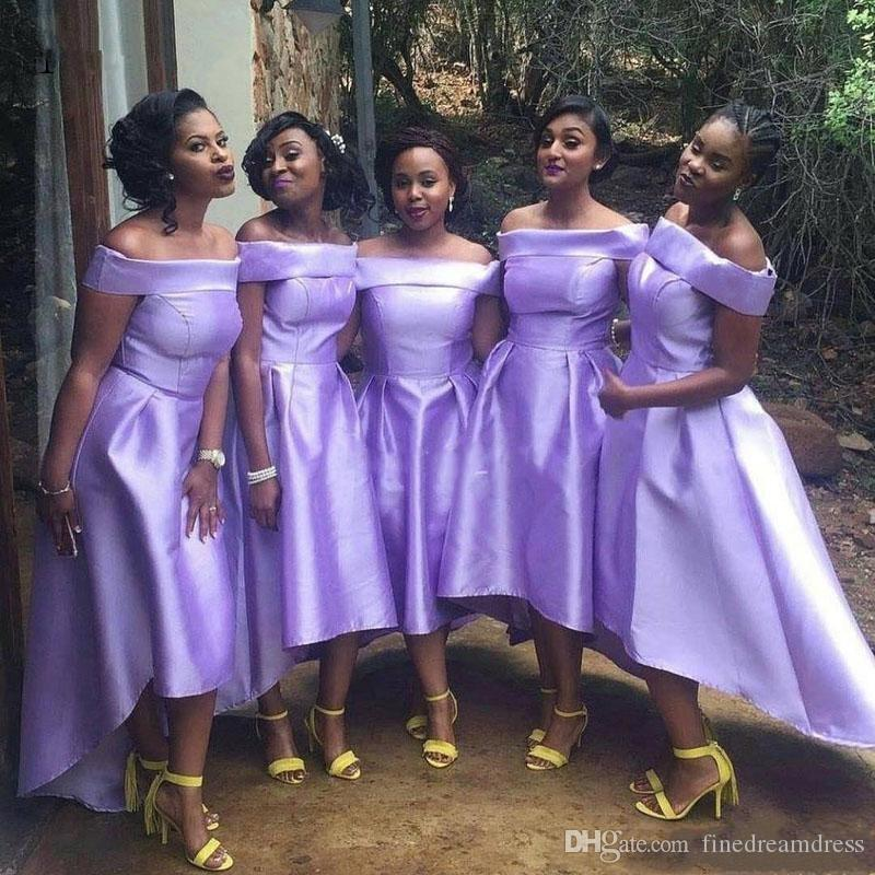 2019 Bateau Boyun Saten Gelinlik Modelleri Dantelli Yüksek Düşük Bir Çizgi Düğün Konuk Parti Hizmetçi Onur Elbiseler