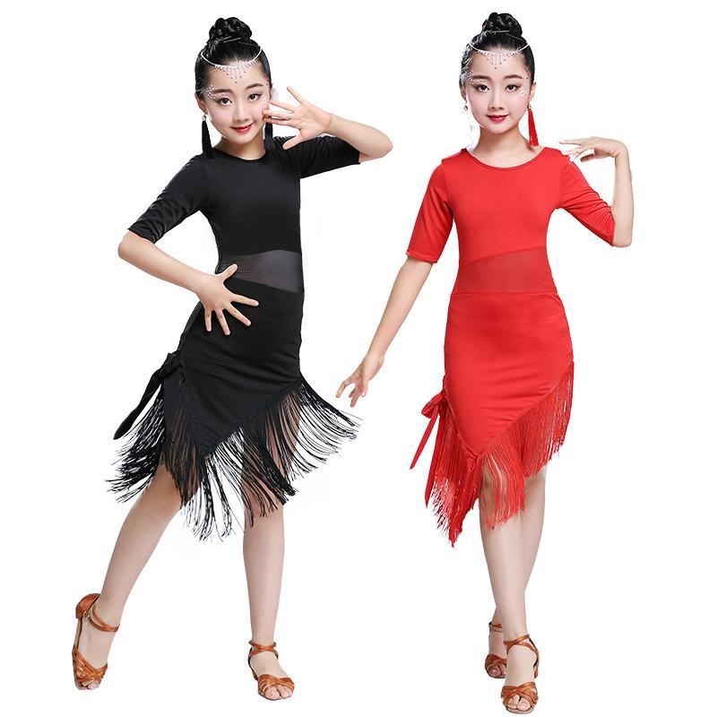 Niños Niños Niñas Vestido de baile latino Franja Ropa de baile latino Salsa Traje Negro Salón de baile Vestidos de tango