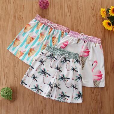 Girls Shorts Kids Summer Swimming Trunks Cartoon Printing Beach Shorts Child Cute Flamingo Shorts Baby Elastic Hot Pants 3 Designs ZYQ489