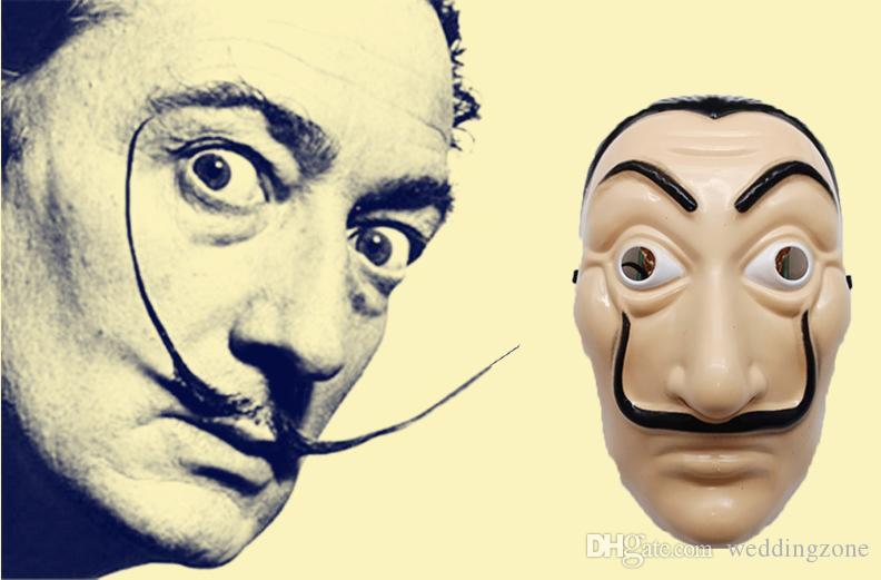 La Casa De Papel Vollmaske Kunststoff Salvador Dali Kostüm Film Maske für realistische Halloween Party Night Club