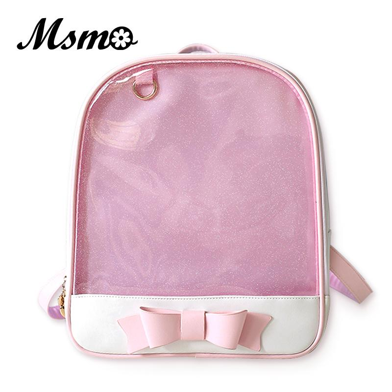 Msmo Cute Clear Transparent Bow Backpack Ita Bag Harajuku School Bags For Teenage Girls Rucksack Kids Kawaii Backpack Itabag Y19052202