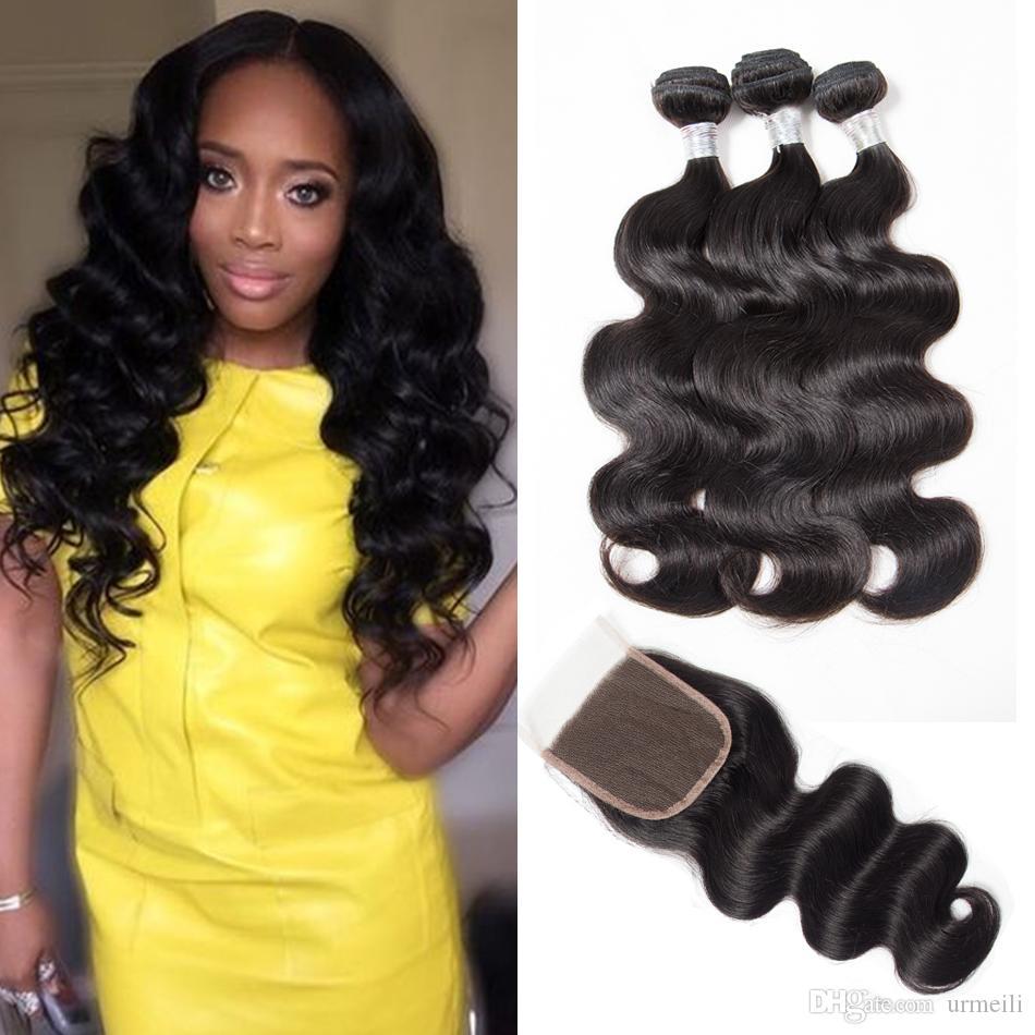 Grade 10A Brazilian Virgin Hair Body Wave Bundles With Closure 3/4 Bundles With Closure Human Hair Weave Brazilian Body Wave With Closure