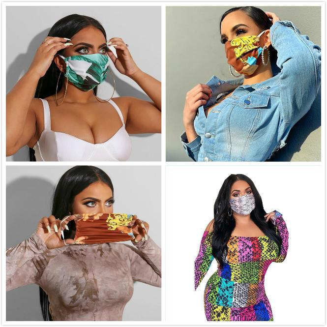 Mode Druck Gesichtsmasken Designer Marke Luxus UV-proof Staubdichtes Respirator Reiten Radfahren Sportmundschutz-Maske für Frauen