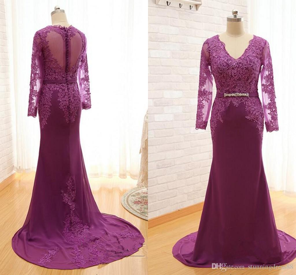Sexy Purple Mother of the Bride Groom Dresses V neck Hollow Back Lace Applique Long Sleeves Chiffon Cheap Plus size Evening Gowns