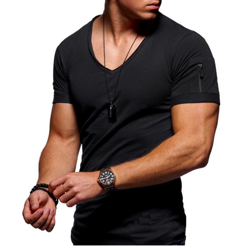 Designer Zipper manches Slim Fit MENV-Neck T-shirt T-shirt cru bord Hommes Hip Hop Steetwear Tops T-shirt Homme T-shirt Livraison gratuite