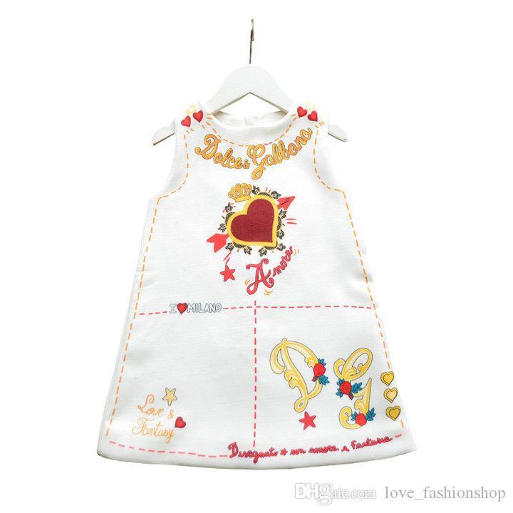 ragazze si vestono di 2020Retail Estate senza maniche San Valentino amore cuore stampato una linea di abiti da principessa Dress della neonata scherza d