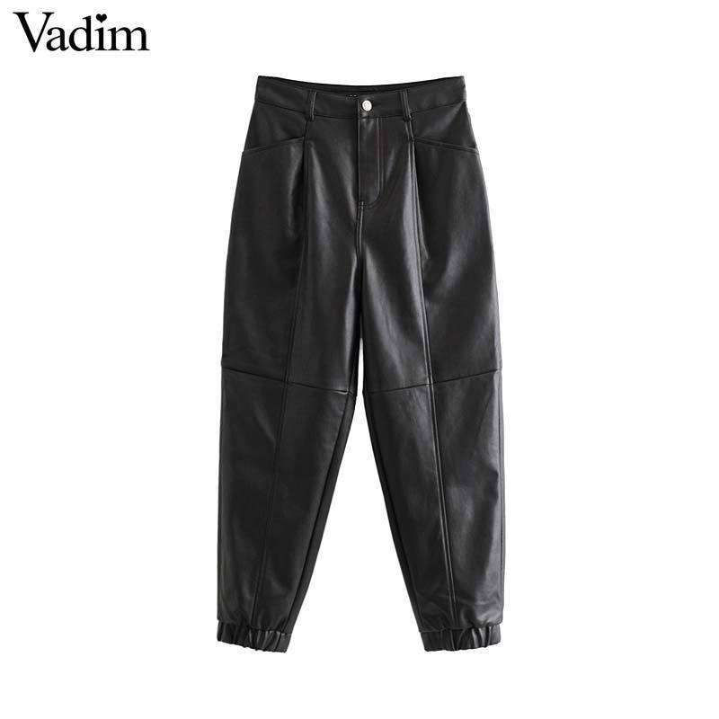 Vadim Frauen schicke PU Lederhosen solides Reißverschluss Design Taschen weibliche grundlegende elegante lange Hosen KB170 Y200107