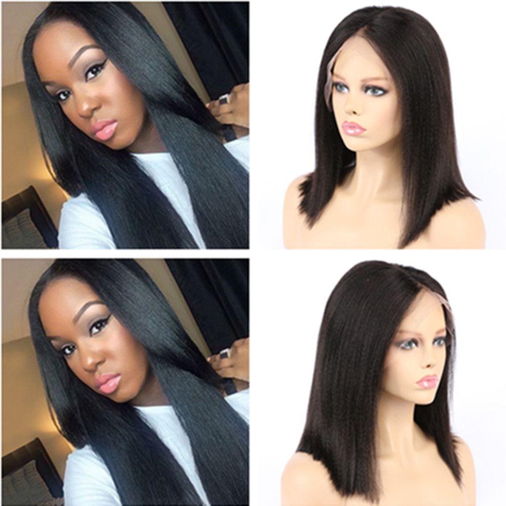버진 브라질어 야키 스트레이트 전체 레이스 인간의 머리카락과 가발 베이비 Hairs 가벼운 야키 레이스 정면 가발 블랙 여성을위한 Glueless 130 밀도