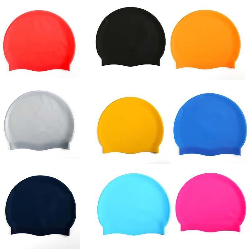 قبعات Adout سباحة الصلبة مرونة عالية سيليكون ماء السباحة قبعات للجنسين الرجال النساء الصيف تصفح السباحه قبعات 12 الألوان 05