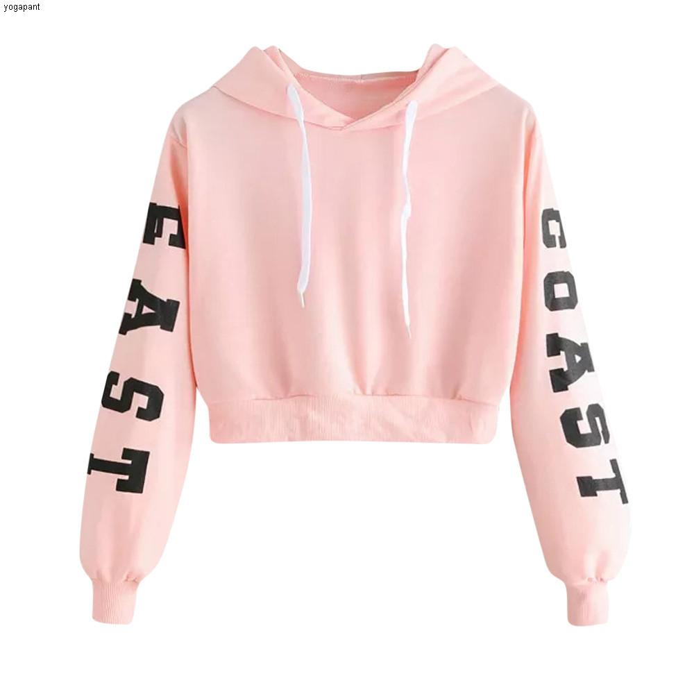 Loose Hoodie Sweatshirt Women's Letters Print Thick Tops Autumn Spring Long Sleeve Pullover Casual Sport Blouses ##4