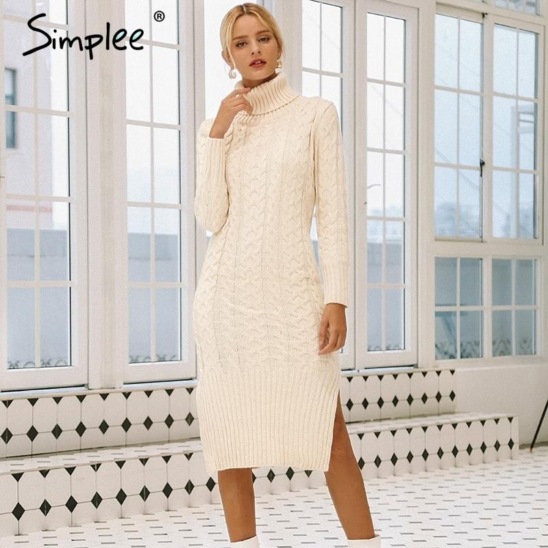 Simplee elegante divisão lado morno mulheres Vestido manga comprida Turtleneck ajuste outono vestido de camisola branca do inverno vestidos de moda