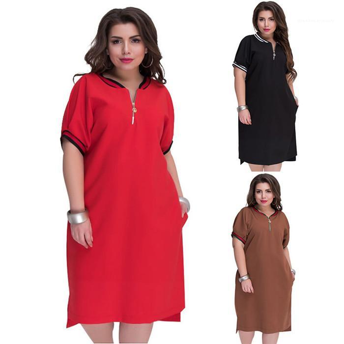 Dress Womens Summer Pure Color Plus Size Casual Dress Round Neck With Zipper Dress Design Natural Casual