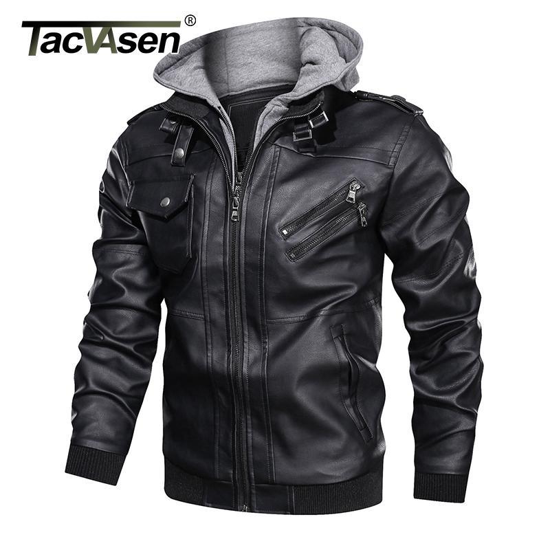TACVASEN Vestes en cuir Hommes Automne Hiver Vintage Casual capuche PU cuir Coats hommes Motard Faux manteau de veste
