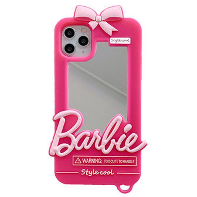 Luxus-Girl Mode süße nette rosa Barbie-Spiegel-weiche Silikon-Kasten-Abdeckung für iPhone 11 Pro Max XS Max XR X 8 7 6 6S Plus-SE