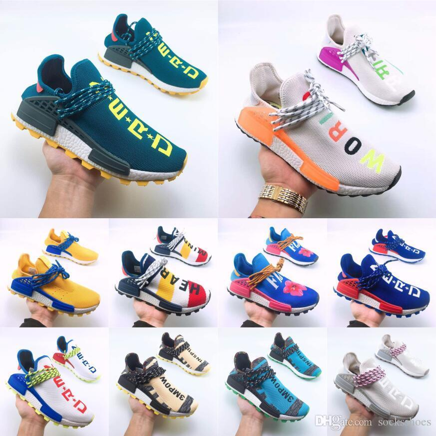 2019 human race Hu trail x pharrell williams mens designer shoes Solar Pack Afro Holi Blank Canvas mens trainers women sports sneakers