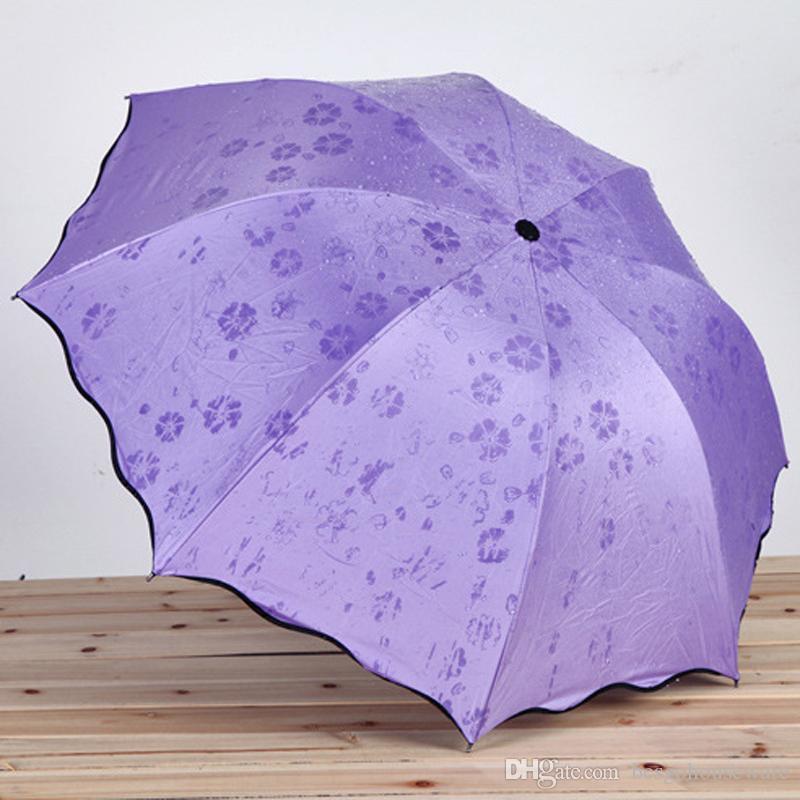 صامد للريح ثلاثة للطي مظلة السحر التي تنقلها المياه المزهرة المظلات الأسود طلاء للأشعة فوق البنفسجية حماية مظلة مشمس ممطر مظلة BC BH1570