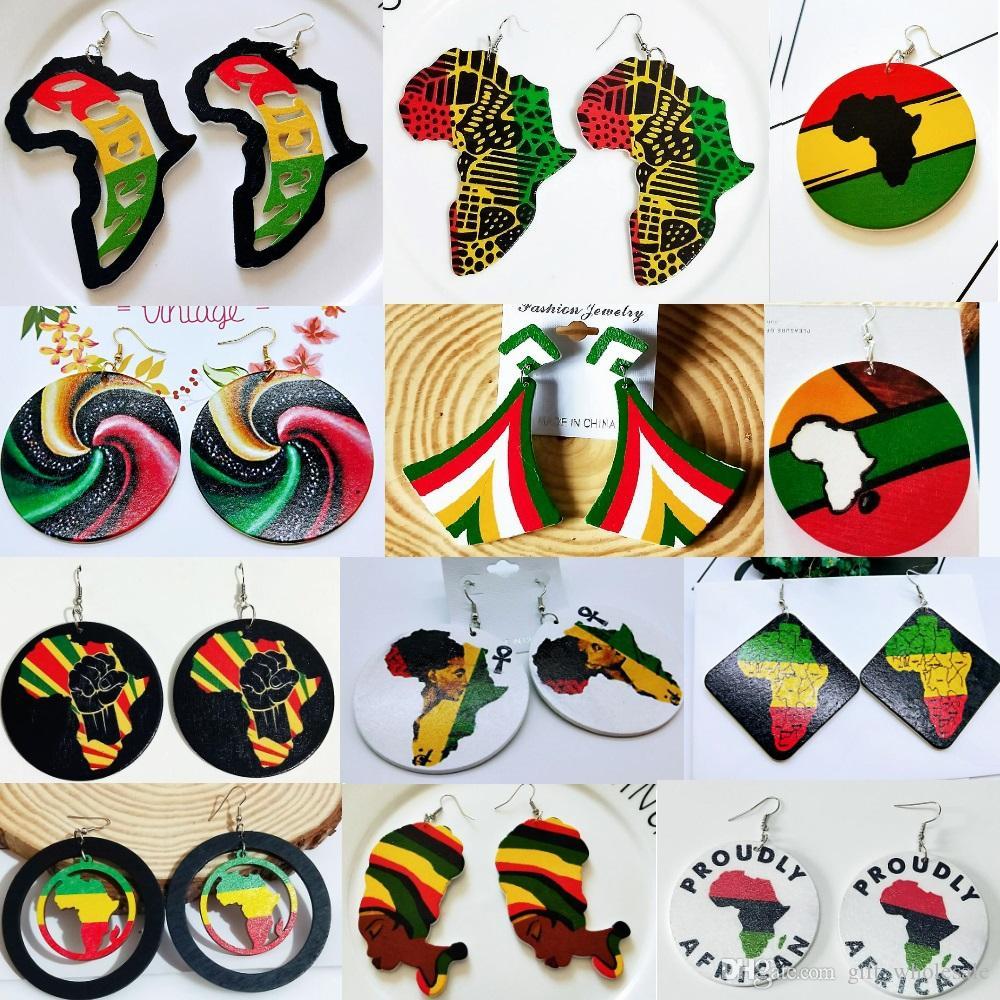 بيع ساخن! 30 Styles Rasta Wooden Yellow Green Bob Marley Jamaica Reggae Rastafari Africa Womens Workers
