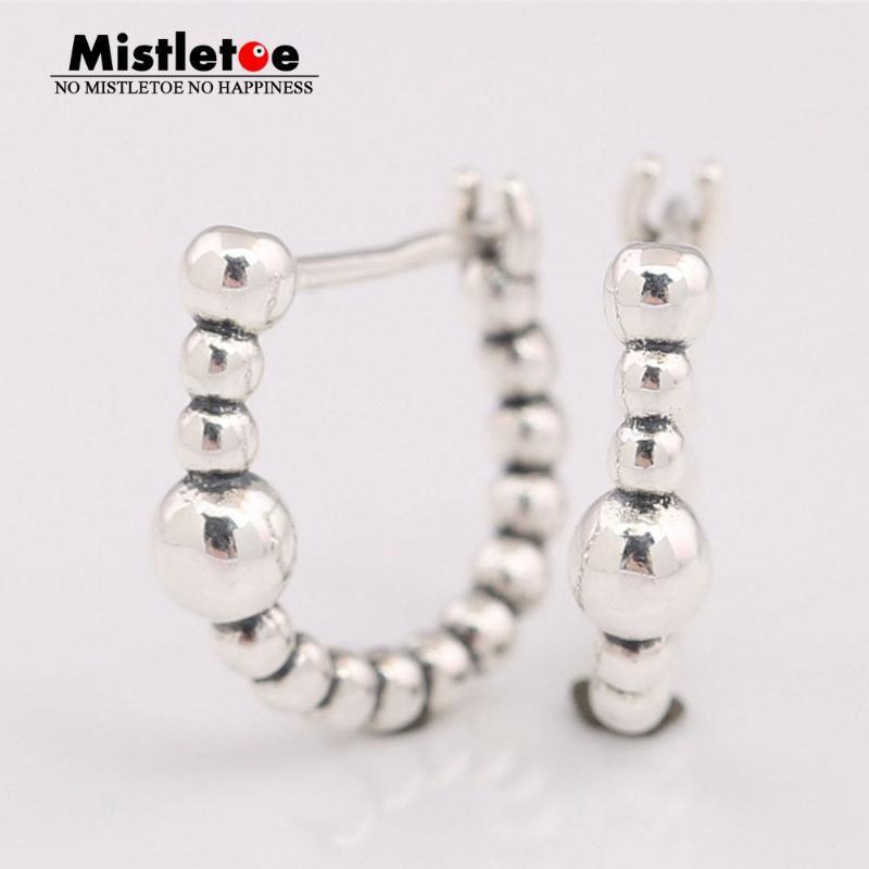 Mistletoe 925 Sterling Silver String of Beads Hoop Earrings European Jewelry