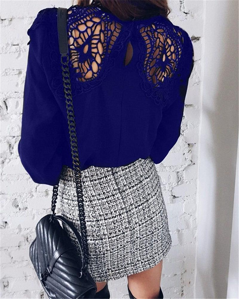 Moxeay Lace-shirt manica lunga Crochet Ricamo Patchwork magliette casual Femme chiffon pizzo all'uncinetto scava fuori Top