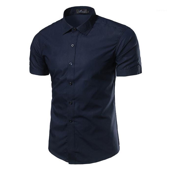 Designer camisa casual roupa magro dos homens vestido Masculino shirt Summer manga curta de cor sólida Vire Collar de Down