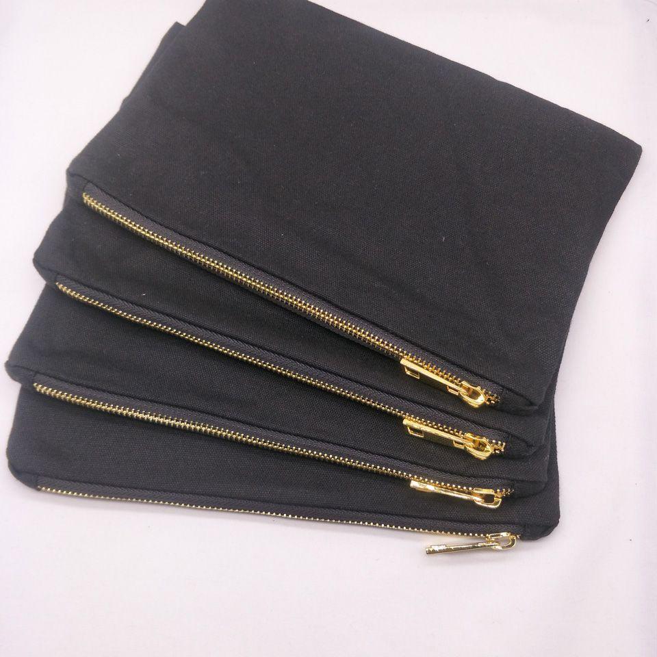55pcs / lot 7x10in 12 oz de algodón negro bolsa de maquillaje lienzo con negro de metal de revestimiento de oro con cremallera bolsa de maquillaje en blanco directamente de fábrica en la acción