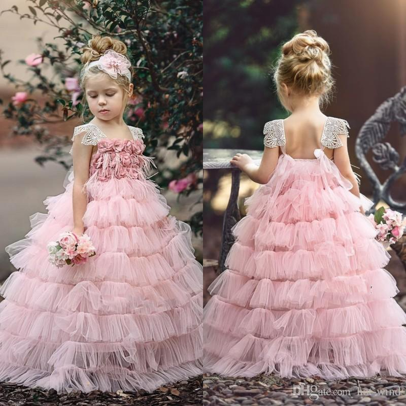 Light Pink Flower Girl Dresses with Floral Appliques Lace Cap Sleeve Pageant Gowns Tiered Skirts Backless Kids Formal Dress