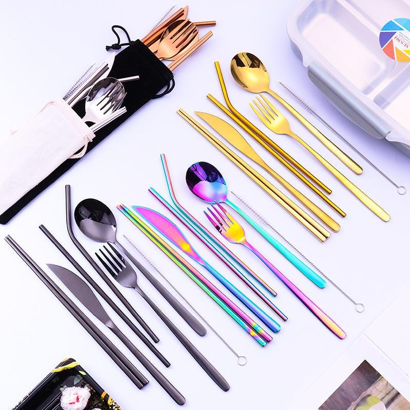 Hot vente de couverts de cuisine couteau fourchette cuillère Chopsticks Straw Family Party en acier inoxydable Couverts, Seven Piece paille cuillère à café S