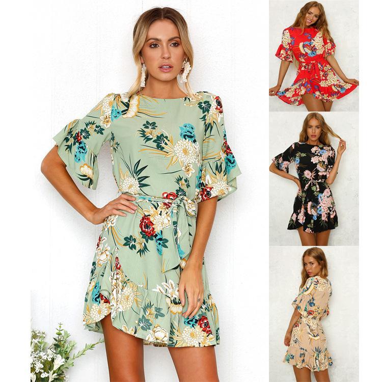 2020 Womens Designer Dress Flounced Hem Short Sleeve Lotus Leaf Print Dress Belt Female Europe and America Fashion Casual 3 Color S-XL