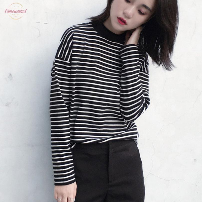 2020 Autumn Women T Shirt Fashion Clothing Lady O Neck T Shirt Causal Black White Strip Long Sleeve For Female
